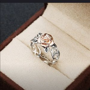 Exquisite 2 Tone Sterling Silver w/14k Rose Gold F